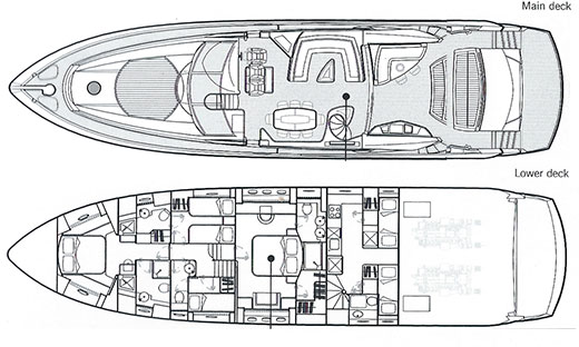 Sunseeker Predator 82 - Low Profile - Layout
